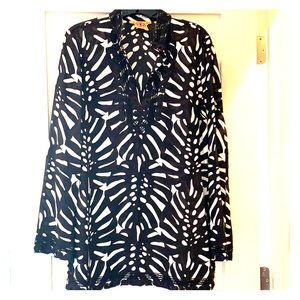 Tory Burch black and white tunic with beading!